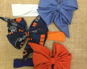 Chicago Bears Headband - Girl Headband - Baby Girl Headbands - Infant Bow Headbands - Girly Bows - Baby Girl Gift - Shower Gift Baby