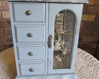 Large Wood Jewelry Box Four Drawers Shabby Chic.