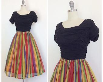 50s Rainbow Stripe Chiffon Party Dress / 1950s Vintage Full Skirt Prom Dress / Medium / Size 6 - 8