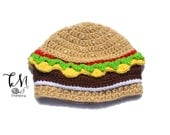 CROCHET PATTERN Cheeseburger Beanie, Infant & Kids Crochet Pattern, Food Hat Pattern, Crochet Kids Pattern, Burger Hat, Cheeseburger Hat