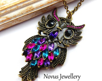 Owl Necklace, Antique Brass Owl Necklace, Bird Necklace, Long Necklace
