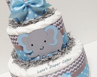 3 Tier Blue And Gray Elephant  Diaper Cake,  Baby Boy Shower Centerpiece
