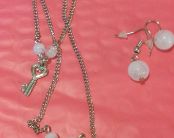 Lock and Key long layered necklace and earring set