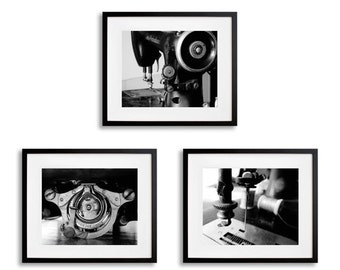 Sewing Machine Photograph Set - Sewing Room, Craft Room Decor,  Needle Clamp, Bobbin, Antique Sewing Machine Art - Abstract  Photograph