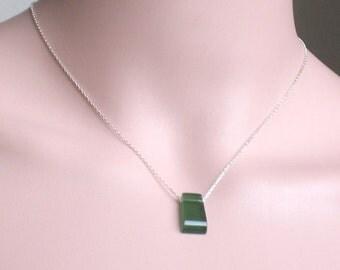 Natural Green Vesuvianite Necklace - Green Vesuvianite Cabochon Pendant Sterling Silver or Gold Filled Necklace