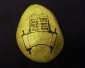 Torah Scroll little Hebrew Judaic Jewish Stone Rock OOAK Torah Scripture Judaism Bible Synagogue Gift
