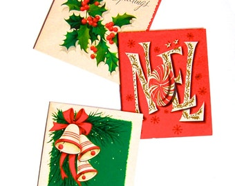 Lot of 3 Vintage Mid Century Modern 1940's -60's Christmas Cards