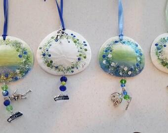 Seahawks Ornament - Seahawks Sand Dollar Ornament - Beach Decor - Nautical Decor