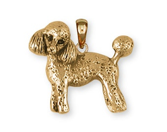 Poodle Pendant 14k Yellow Gold Vermeil Dog Jewelry PD55-PVM