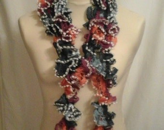 Blue purple and orange ruffle scarf