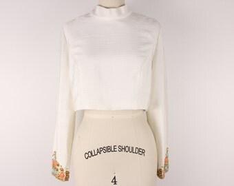 Vintage 1970s embellished crop top size M handmade