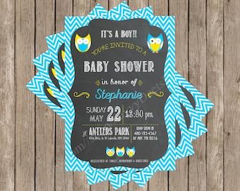 Owl Chevron Baby Shower Invitation Printable   Owl  Chevron   Chalkboard    Printable Invitation