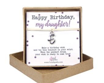 Happy birthday daughter, personalised letter wish bracelet, silver initial bracelet- minimalist cord bracelet, birthday gift for daughter