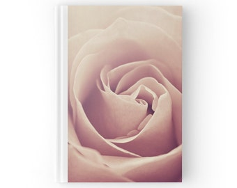 Pink Rose Flower Journal Book, Floral Blank Sketchbook, Ruled Lined Diary, Blank Paper Notebook, Nature Hard Cover Book, Spiral Notebook