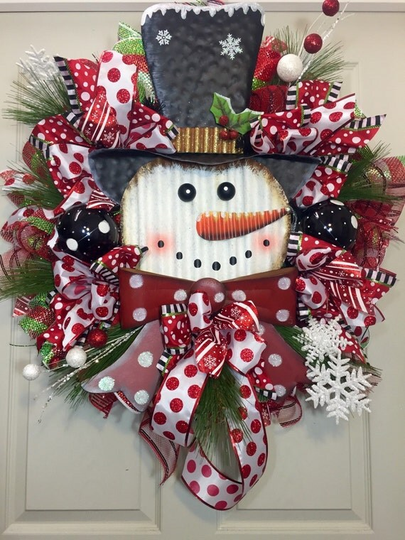 Christmas Wreath Snowman Whimsical Black By Williamsfloral