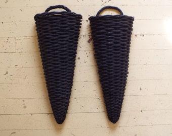 Black Vintage Cone Wall Basket