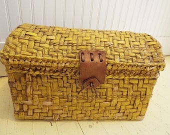 Vintage Straw Chest with all Leather Hinges