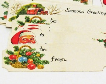 Group of 33 Vintage Christmas Gift Tags, Various designs