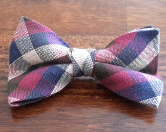 Maroon Plaid  Junior Bow Tie