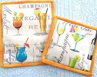 Martinis and Beer Pot Holders Hot Pads Trivets