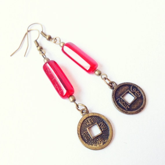 Ethical Red Glass Lucky Coin Earrings