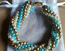 Turquoise Twist Beaded Bracelet
