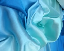 Ombre Charmeuse Color Teal-Sky blue-Teal