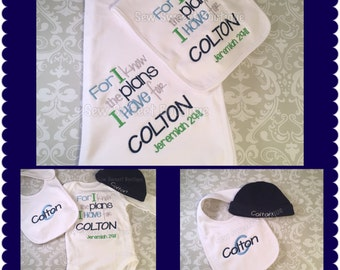 For i know the plans i have for you, jeremiah 29:11 bible cerse, baby shower gift, personalized, burp cloth, bib, blanket, onesie, baby hat