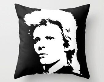 David Bowie Cushion, David Bowie Pillow, David Bowie Gift, Ziggy Stardust, Decorative Black And White Throw Pillow, Monochrome Cushion