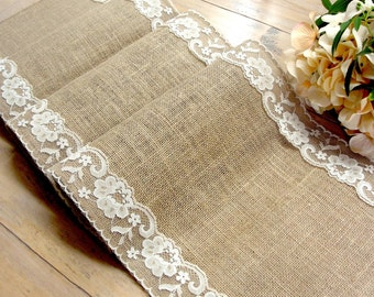 burlap and lace wedding table runner lace table runner rustic wedding table linens bridal shower party, handmade in the USA