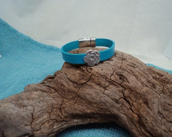 Soft Leather Bracelet with Magnetic Clasp and Silvertoned Rose Slider Bead