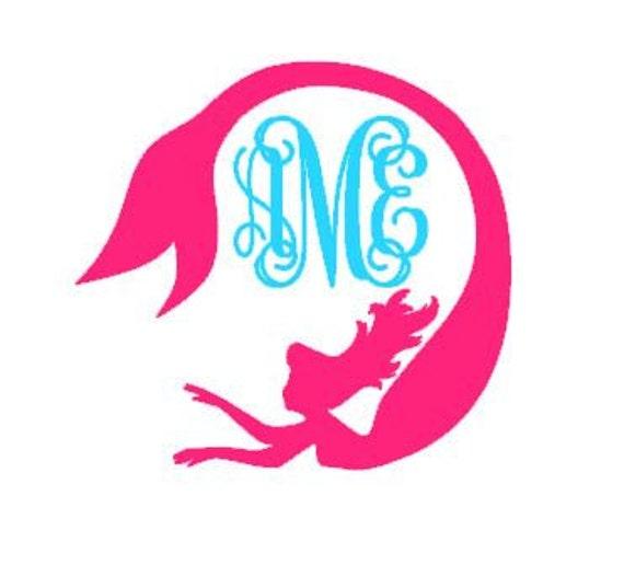 Mermaid Decal Mermaid monogram decal tumbler decal iphone decal Vine Monogram Decal Circle Mermaid Decal