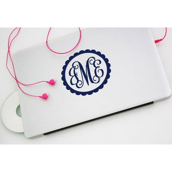 "FLASH SALE 3"" MONOGRAM decal vinyl monogram decal vine decal circle decal preppy monogram decal bow decal bridal decal teacher gift"