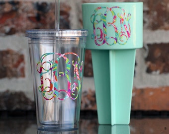 Lilly Pulitzer Inspired Monogram Beach Spike and 16 oz Tumbler combo