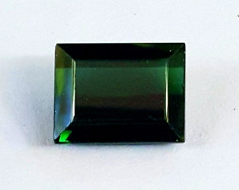Green Tourmaline Gemstone - Banquette Cut - 3.80Cts - Excellent Clarity - Dark Green Heart Chakra & Libra Gem -Rectangle Tourmaline Ring Gem
