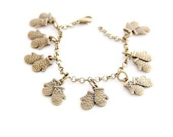 Gloves charm bracelet pendant winter cold gift for her