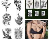 Tattify Assorted Flower Temporary Tattoo Pack - Garden Party (Set of 12)