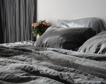 LINEN DUVET COVER and two pillowcases. French linen bedding set of 3 pieces. Stonewashed. Handmade by MOOshop.*25