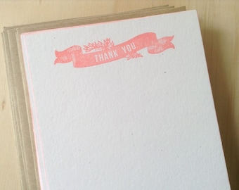 vintage inspired flat note cards and envelopes, thank you banner, coral, stationery set, a2, set of 10