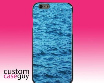 Hard Snap-On Case for Apple 5 5S SE 6 6S 7 Plus - CUSTOM Monogram - Any Colors - Blue Water Ocean Waves
