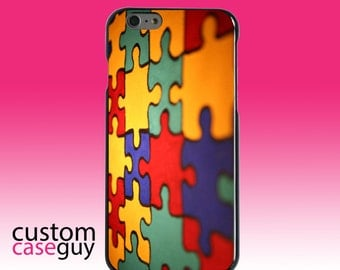 Hard Snap-On Case for Apple 5 5S SE 6 6S 7 Plus - CUSTOM Monogram - Any Colors - Red Blue Yellow Puzzle Pieces