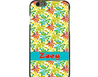 Hard Snap-On Case for Apple 5 5S SE 6 6S 7 Plus - CUSTOM Monogram - Any Colors - Red Blue Yellow Green Burst