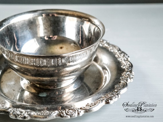 Vintage Silver Serving Bowl-French Country English Farmhouse