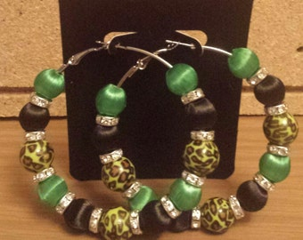 Basketball wives /Poparazzi inspired green leopard print hoop