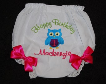 Custom embroidered owl birthday bloomers tourquoise/hot pink/lime green with coordinating ribbons