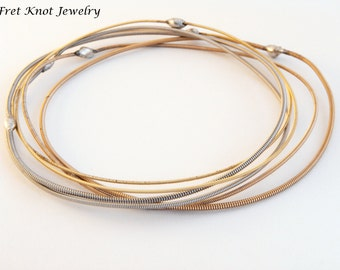 Guitar String Bangle Set - Handmade - Guitar String Jewelry