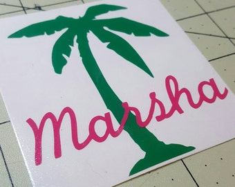 Palm tree vinyl decal with your name