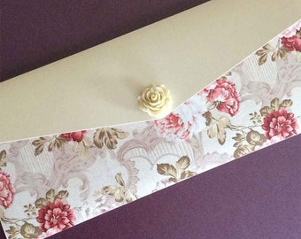 Pocketfold Wedding Invitation with Floral Papers and Rose Embellishment