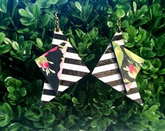 Flowers & Stripes- Handmade Wooden Earrings