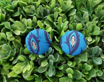 Feather- Handmade Fabric Button Earrings